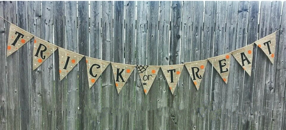 new halloween decoration trick or treat burlap banner rustic hessian party garland black spider photo props