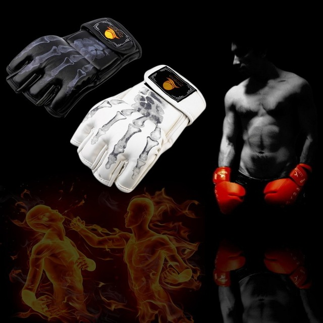 1 pair Boxing Gloves MMA  Sparring Grappling Fight Boxing Punch Ultimate Mitts Leather Gloves free shipping