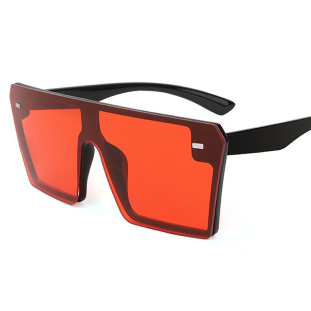Oversized Square Sunglasses Luxury Brand Fashion Flat Top Red Black Clear Lens 3