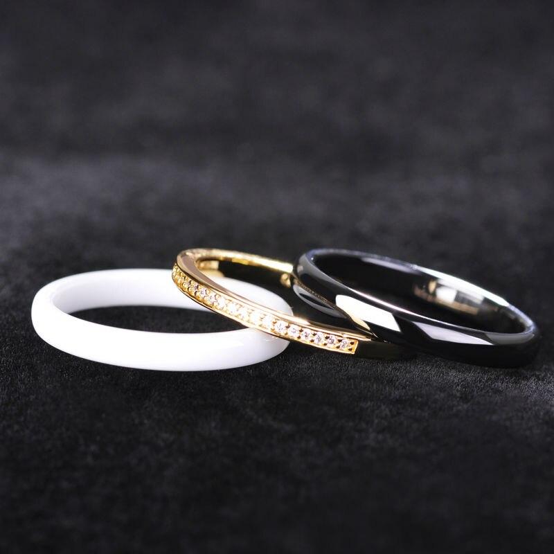 Dazz Shinning Three Lines Ceramics Jewelry Sets Earrings Ring Lady Women Black White Brincos Wedding Bridal Schmuck Bijoux 1