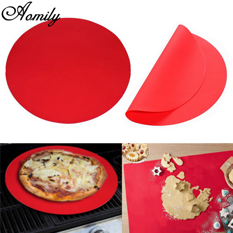 Aomily Round Silicone Baking Mat 30cm Oven Cookie Pizza