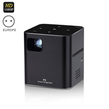 New Hot EU Plug P6 DLP Projector 80 Ansi Lumen Dual Band Wifi 1080P Home Theater for IOS Apple 8 @88