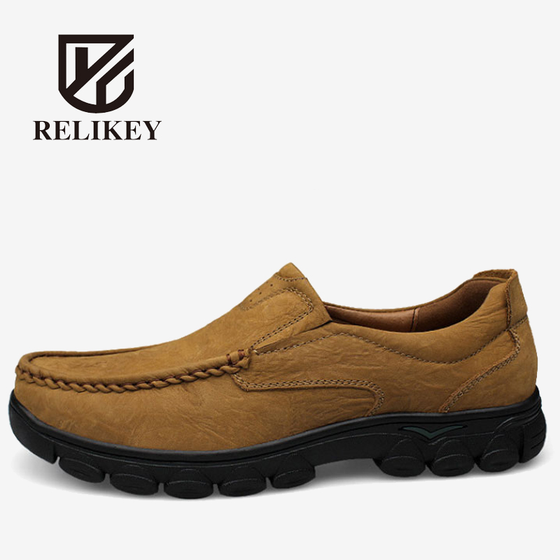 Full grain leather men leather shoes big size RELIKEY top quality Brand handmade men flats #A1243 big size 48 men flats shoes full grain leather shoes men shoes luxury brand black zapatos hombre sapatos masculino
