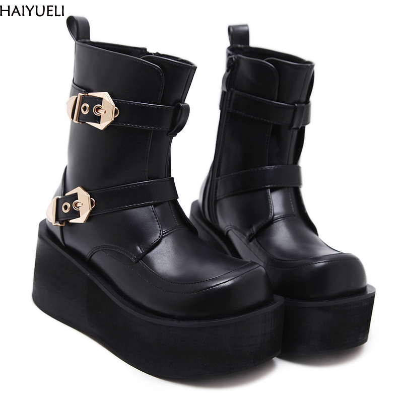 HAIYUELI Womens Wedge Boots Fashion Platform Shoes Women Punk Black Gothic Ankle Boots Womens Cosplay Motorcycle Boots lf80855 sexy round toe punk ring gothic club party platform stiletto ankle boots black