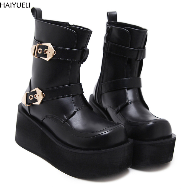 eb6edfb4313d HAIYUELI Womens Wedge Boots Fashion Platform Shoes Women Punk Black Gothic  Ankle Boots Womens Cosplay Motorcycle Boots