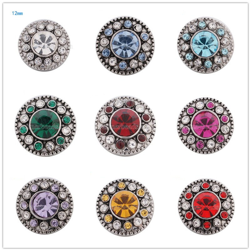 whole sale 12mm snaps mini metal snap button jewelry fit small bracelets snap Jewelry button bracelet snaps charm KS5070-s image