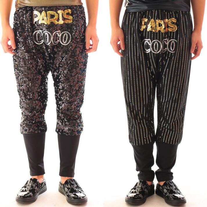Moda Hombres Los Pantalones Personalidad only Etapa Paillette De Harem Pants Hip Only La Entrepierna Colgando Pants Rock hop Oro Danza 1RZxC1p