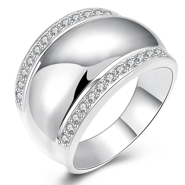 JEEXI Modern 925 Sterling Silver Rings For Women Man Invisible Setting CZ Crysta