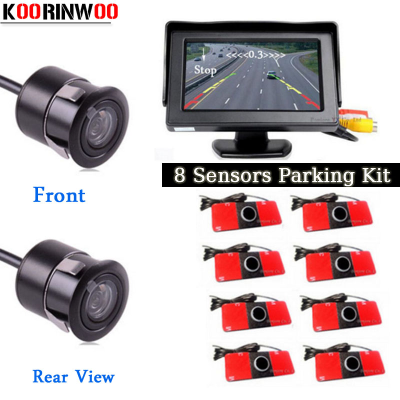Koorinwoo Parktronic Car Monitor Digital 800*480 Radar sensor System 8 Probe Alarm Front Camera Car Rear view Camera Parking koorinwoo 4 in 1 car parking sensor 8