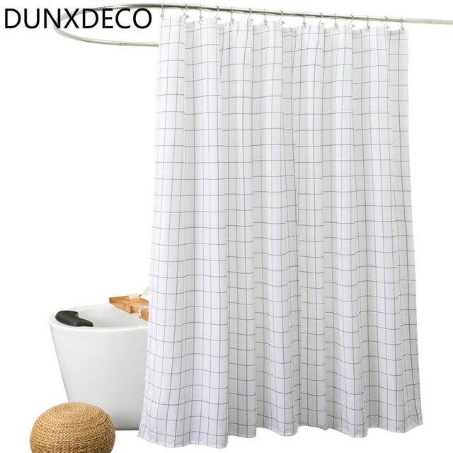 DUNXDECO Shower Curtain Bathroom Waterproof Cortinas Nordic White Black Check Geometric Print Polyester Rideau Home Decor