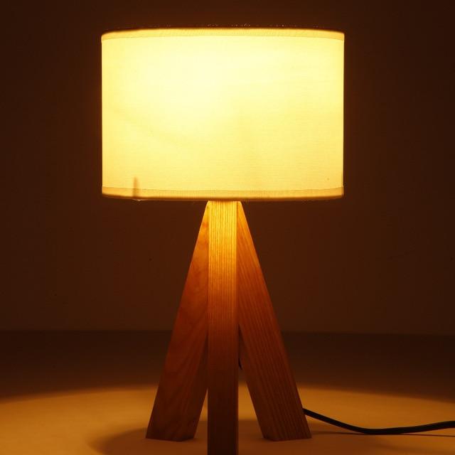 Cottage Style Wooden Table Lamp 300 180mm E14 Wood Textile Black White Desk Light