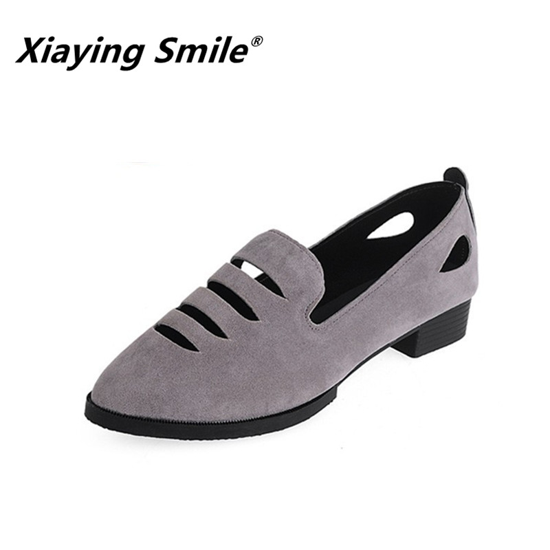 Xiaying Smile Hollow Out Flats Shoes Women Boat Shoes Summer Casual Loafers Slip On Pointed Toe Shallow Rubber Women Solid Shoes