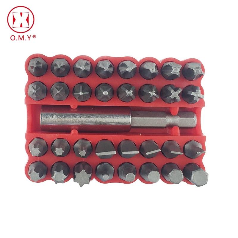 33pcs Bits Chave de Fenda Terno Sólida Acessórios À Prova de Violação de Segurança Parafusos Parafusos do Hex Bits Para chave de Fenda Elétrica Chave De Fenda Set