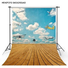 Photography Backdrops 5x7ft Blue Sky Aircraft Photography Background New Born Brown Wooden Photo Booth Backdrop Fotografia 5x7ft kate retro dark wooden photography backdrops children background photography vintage scenic photography backdrops