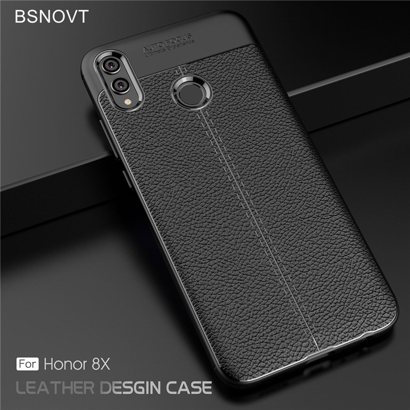 For Huawei Honor 8x Case Soft Silicone PU Leather Anti-knock Bumper Cover 6.4 Funda BSNOVT