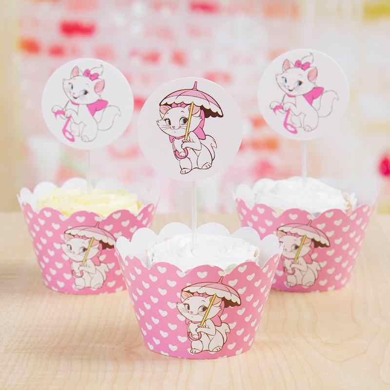 48Pcs (24 Wrappers + 24 Toppers) Marie Cat Cupcake Wrapperเด็กวันเกิดตกแต่งเค้กToppers