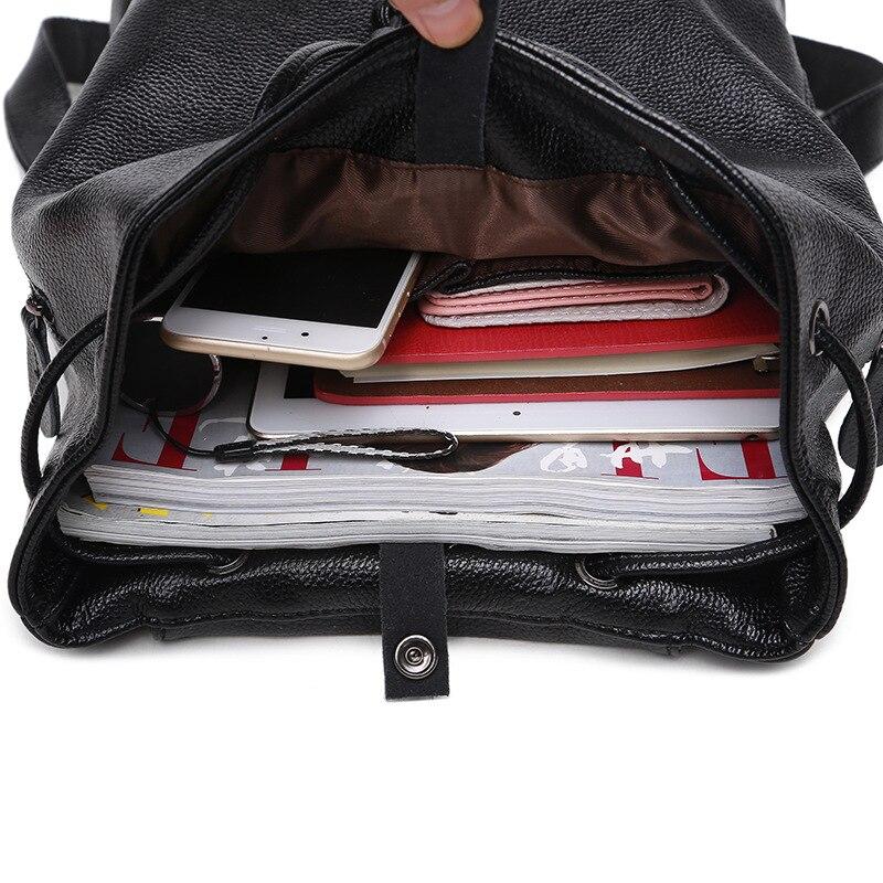 Спилок милый рюкзак маленький рюкзак женский сплошной черный школьные сумки для девочек подростков - 3