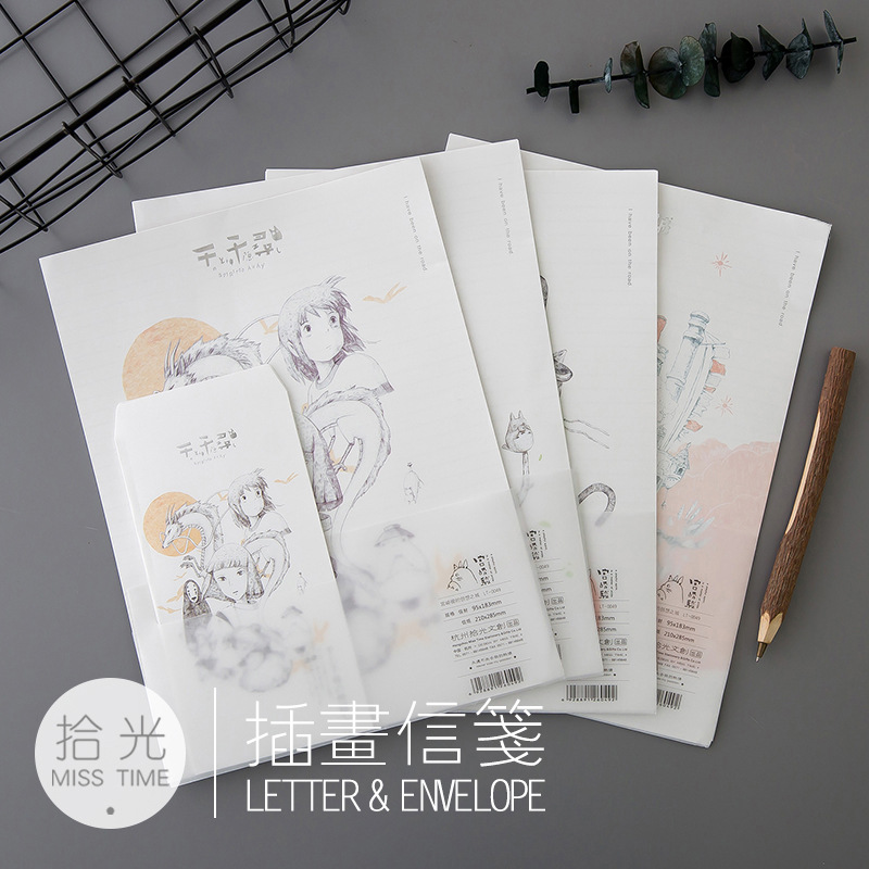 9Pcs/Set 3 Envelops + 6 Writting Paper Hayao Miyazaki Envelope Letter Paper School Supplies
