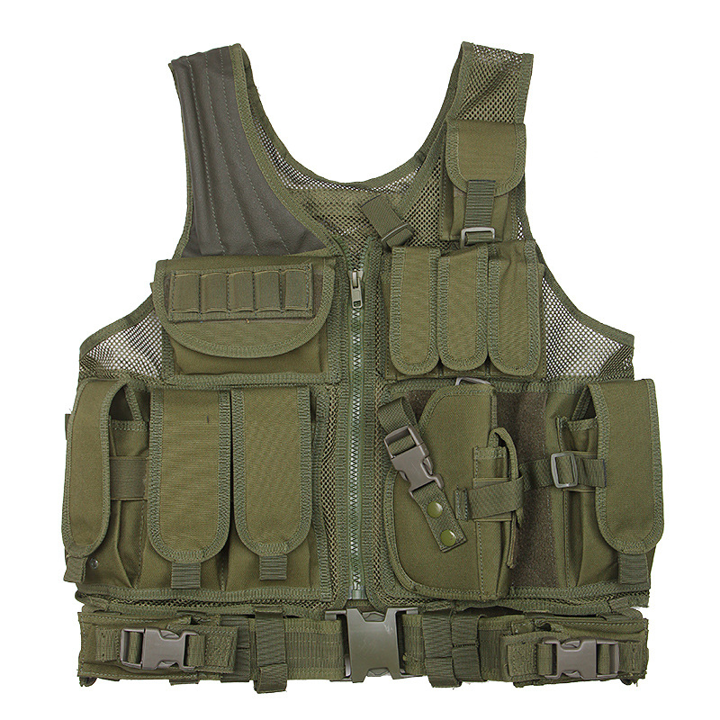 Outdoor Police Security Guard Tactical Vest Multi-pocket Belt Mesh Vest With Holster Magazine Pouch