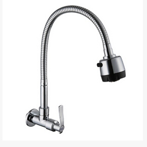 In wall mounted brass cold water kitchen faucet fold expansion DIY kitchen sink tap Multifunction shower