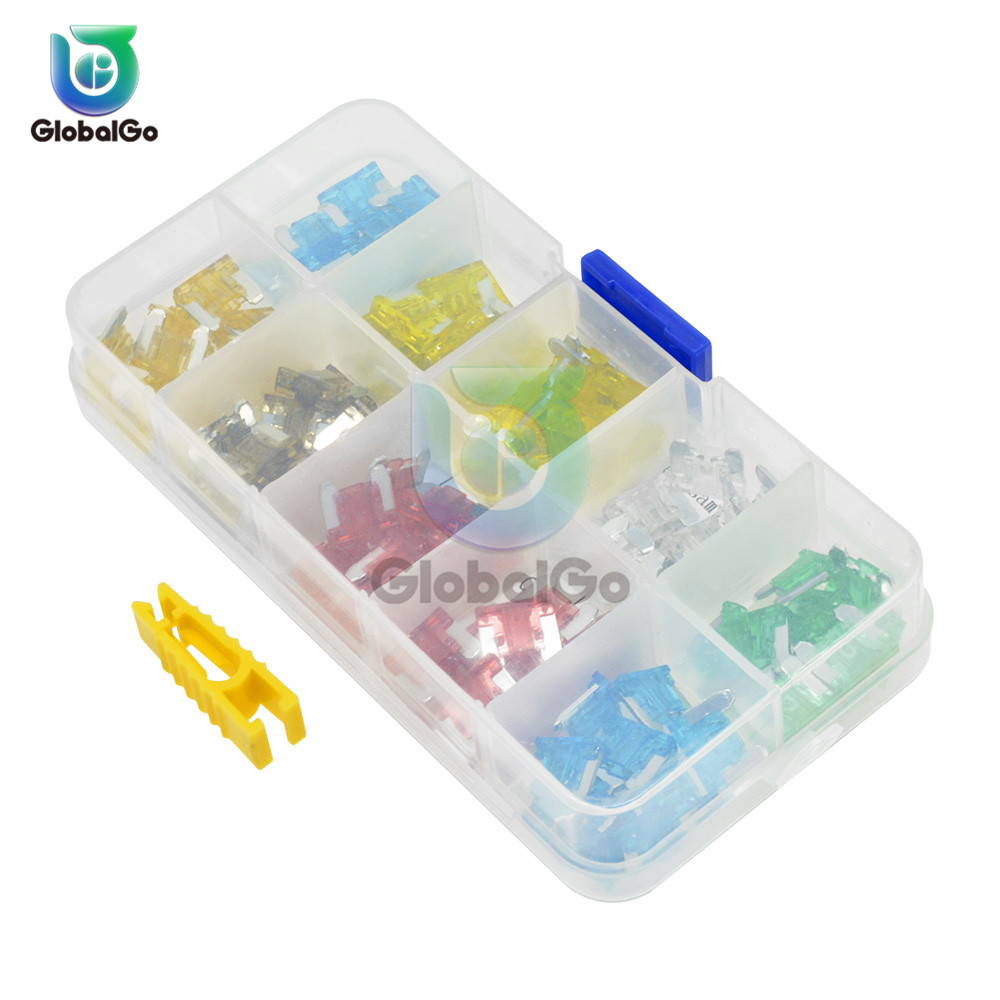 100pcs Lot Mini Blade Fuses Auto Fuse Kit Set 5A 10A 15A 20A 25A 30A For Car Truck Accessories Fuse Inserts With Case Box Home in Fuses from Home Improvement