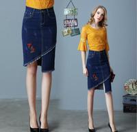 Embroidery Long Pencil Denim Skirt Female Elegant Office Work Irregular Denim Jeans Skirts With Plus Size