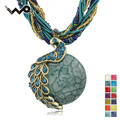 Women  Vintage Peacock Crystal Bohemia Rhinestone Glass Beads Cord Rope Chain Pendant Clavicle Necklace Free Shipping B001