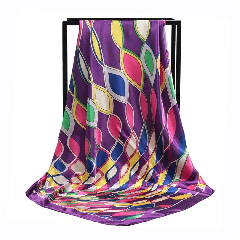 POBING Women Silk Scarf Geometric Print Square Head Scarves Wraps Luxury Brand Female Foulard Satin Muslim Bandana Hijab 90CM