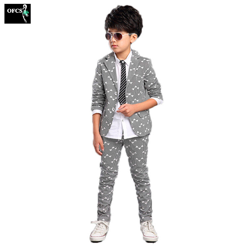 OFCS 2Pcs 3Color Selling children's clothing boys suit,Spring and Autumn printing new Korean boy children suit small suit+pants children s suit suit spring and autumn boy dressed in big children korean flower children s clothing two candy colored jacket