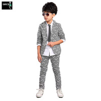 OFCS 2Pcs 3Color Selling children's clothing boys suit,Spring and Autumn printing new Korean boy children suit small suit+pants