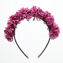Модная замшевая головная повязка с цветами, Детские модные аксессуары для волос, пластиковая повязка с зубами