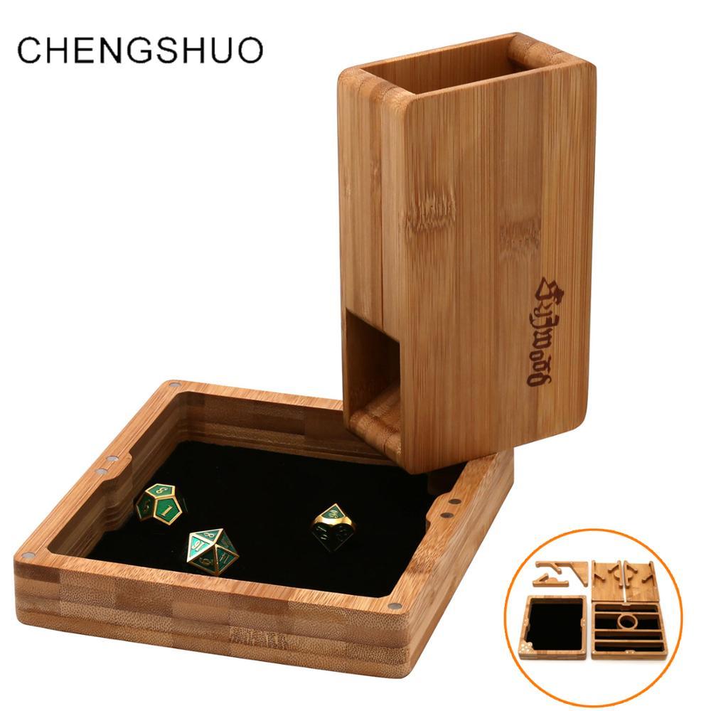 Chengshuo dnd dice torre Conjunto De Armazenamento De Bambu caixa de dobrar jogos de mesa bandeja de dungeons and dragons dices de adsorção Ímã personalizado