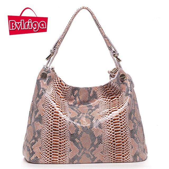 BVLRIGA Genuine leather bag luxury handbags women bags fashion designer high quality serpentine women shoulder messenger bags