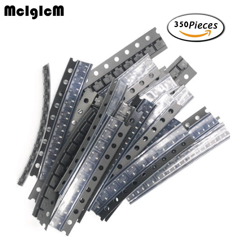 Transistor Assortment 350Pcs 35 Value Smd Transistor Set M1 (1N4001) / M4 (1N4004) / M7 (1N4007)/ S9012 S9014 S8050 S8550 KIT