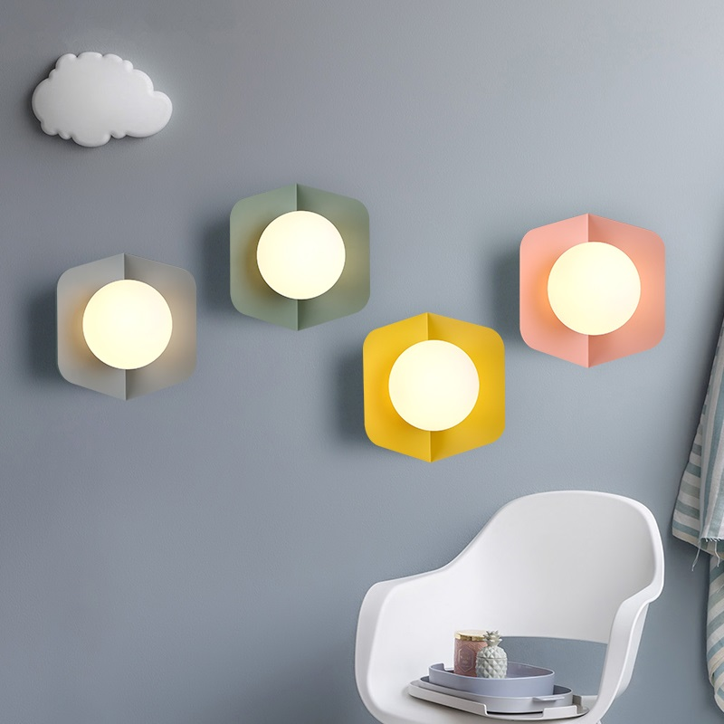 Modern LED sconces Nordic Lighting Macaron wall lights aisle glass luminaires Bedroom bedside wall lamps stairs