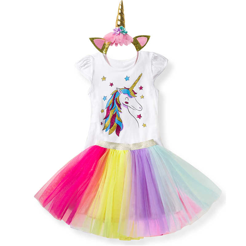 e3d3eff10 ... Girl Unicorn Party Dress Tulle Princess Costume Children Flower Headband  Birthday Dress Up Clothes Little Baby ...