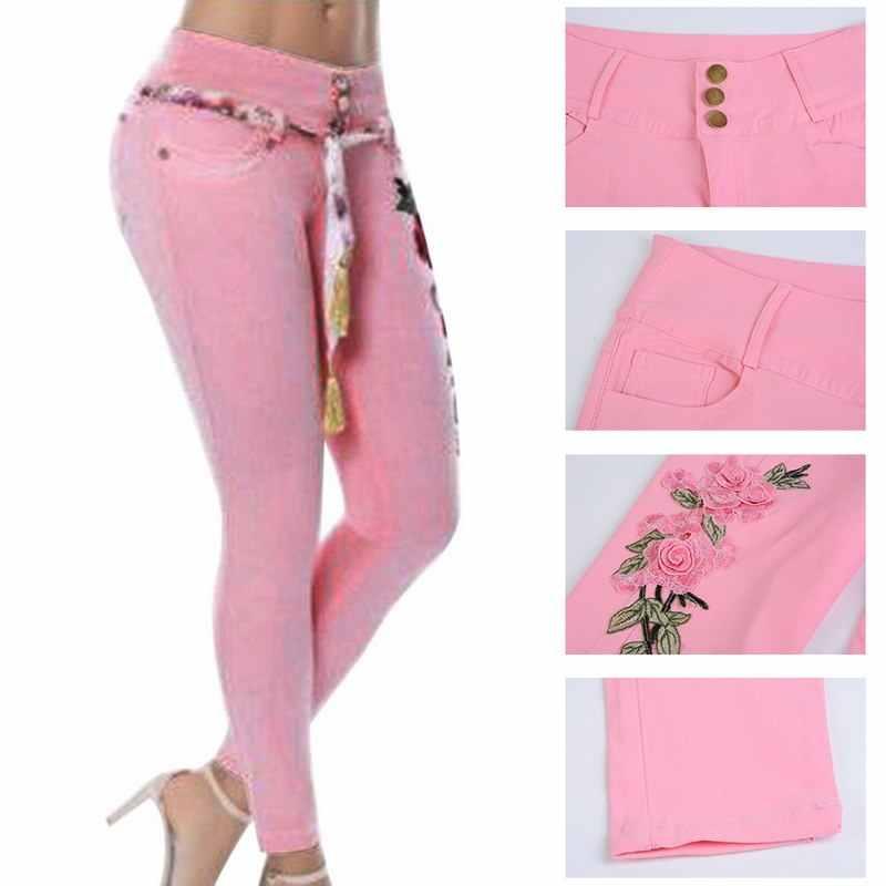 De Skinny Pantalones Mujeres Bordado Alta Cintura Vaqueros Estiramiento Florales 2019 Mujer Lápiz Lasperal A4R5jL3