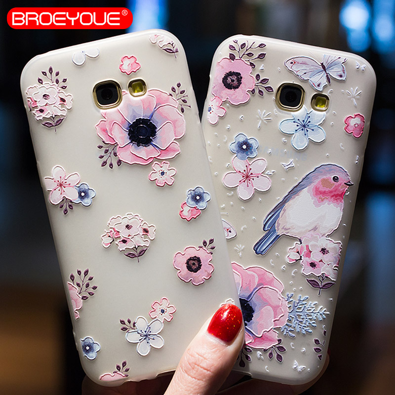 BROEYOUE Case For Samsung Galaxy A3 A5 A7 2016 3D Relief Silicone Flower Cute Ultra Thin Matte Cases Cover For Samsung A5 2016