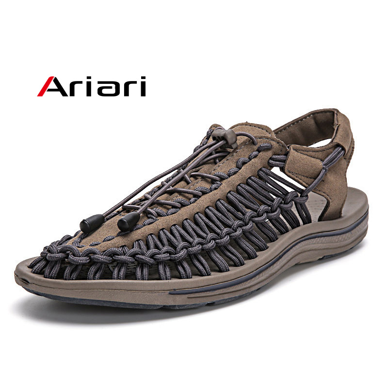 New Summer Men Sandals Fashion Handmade Weaving Breathable Casual Beach Shoes Comfortable Sandals For Men(China)