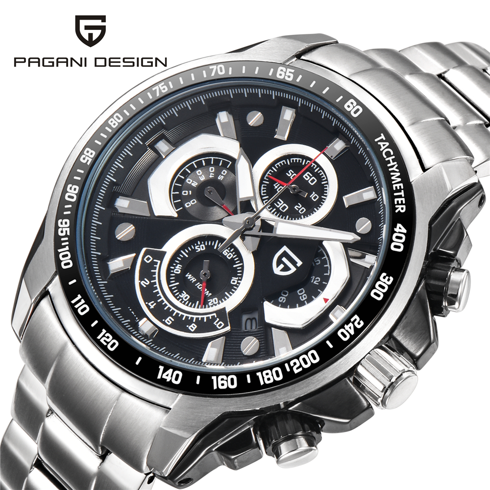 PAGANI Design luxury brand Waterproof Sports Watches Men Quartz Stainless Steel Military Watch Reloj Hombre Relogio Masculino luxury brand pagani design waterproof quartz watch army military leather watch clock sports men s watches relogios masculino