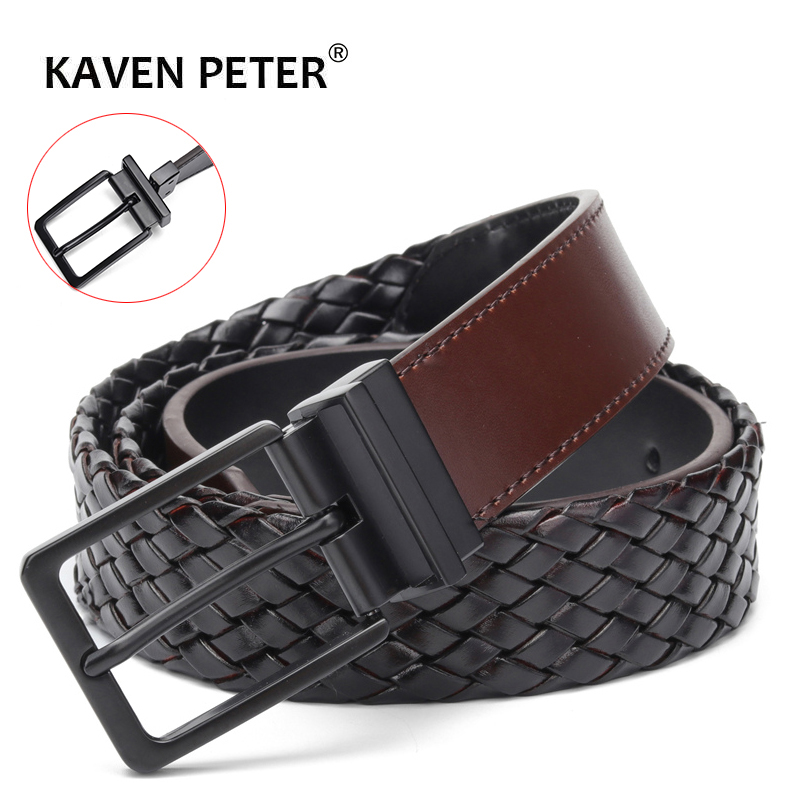Designer   Belts   Men Reversible Knitted Leather   Belt   Fashion Male Rotated Buckle Germany Bonded Leather Braided Strap