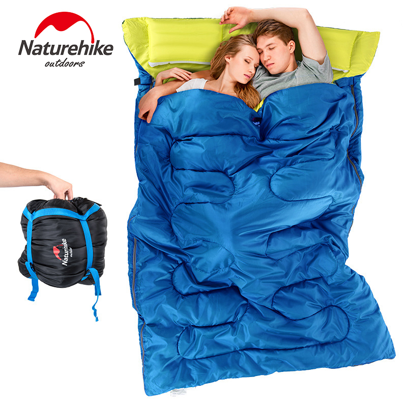 NH couple double sleeping bag with pillows outdoor camping indoor lunch break portable Adult lover warm for four seasons nh outdoor camping indoor lunch adult sleeping bags of ultra light warm seasons can be spliced herringbone cotton bag