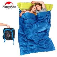 NH пара двойной спальный мешок с подушки на открытом воздухе кемпинга крытый обеденный перерыв портативный Взрослых любовник теплый в течение четырех сезонов