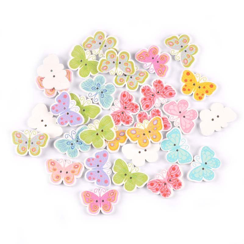 Natural Wooden Backing Pack of 5 Butterfly Retro Design Wooden Buttons 27mm