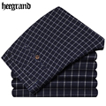 HEE GRAND Trousers Male Classic Long Pants For Man Brand Cotton Straight Men's Pant Men Casual Fashion Plaid Underpants MKX915