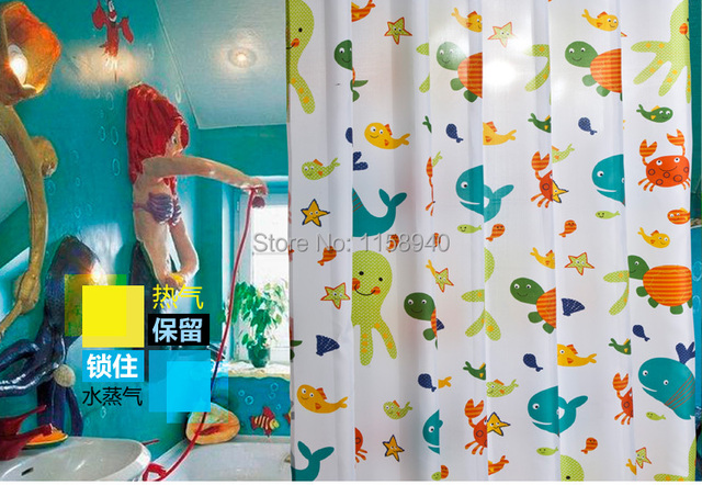 1 Pcs 180 * 180 Cm Cartoon Turtles And Fish Shower Curtain. High Grade