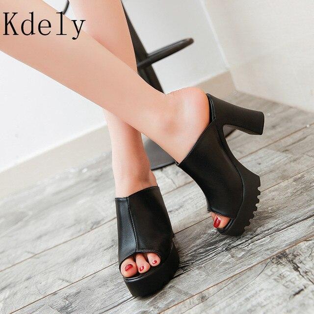 Resbalón Suela Zapatillas Negro Señoras Hembra De Plataforma Cuero Las Zuecos En Peep Mujeres Alto Tacón Toe Sandalias 2019 Zapatos sQhrdtC