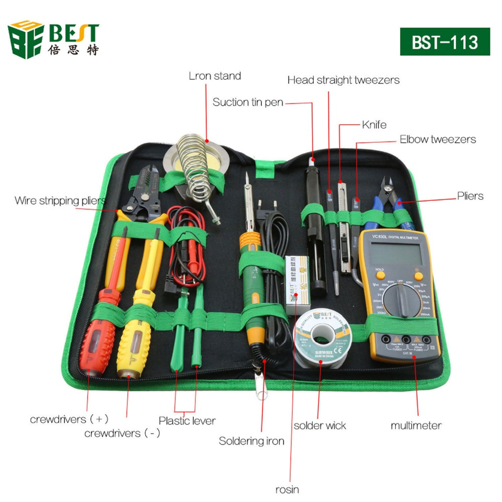 16 in 1 Household Profession Multi-purpose Repair Tool Set With Soldering Iron Digital Mulimeter For Laptop PC Tablet16 in 1 Household Profession Multi-purpose Repair Tool Set With Soldering Iron Digital Mulimeter For Laptop PC Tablet