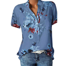 Plus Size Blouse Women 2019 Fashion Female Short Sleeve V Neck Floral Print Shirt Tops blusas mujer de moda 5XL H30
