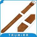 20mm faixa de relógio de couro genuíno alça de liberação rápida para garmin vivomove pin fivela correia de pulso pulseira marrom + primavera bar